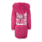 GIRLS HOT PINK FAUX FUR COAT WITH PINK AND ARTSY PRINT WORK CANVAS BACK freeshipping - HOJ