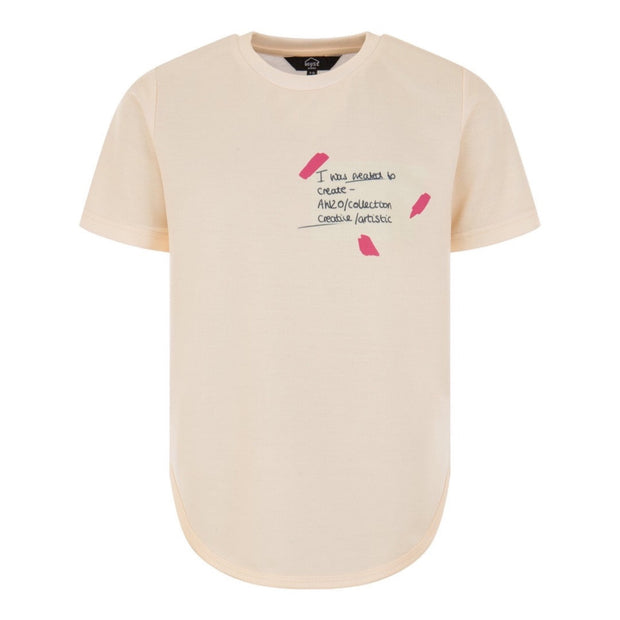 CREAM AND PINK TSHIRT freeshipping - HOJ