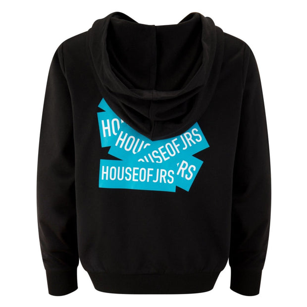 BOYS BLACK 'VALUE OF ART' DETAILED PRINT LONG SLEEVED HOODIE REGULAR FIT - houseofjrs