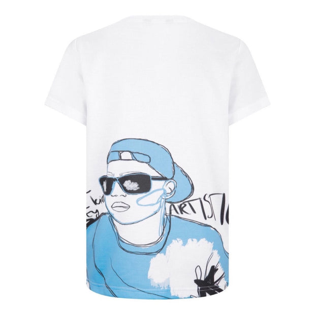 BOYS 'COOL' ILLUSTRATED BLUE PRINT TEE JUNIOR STYLE STRAIGHT FIT T-SHIRT freeshipping - HOJ