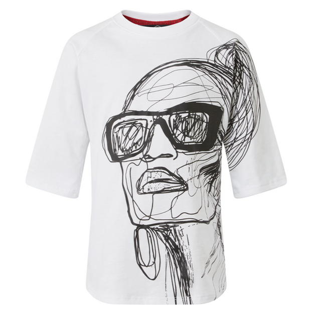 ILLUSTRATED FACE TEE/DRESS freeshipping - HOJ