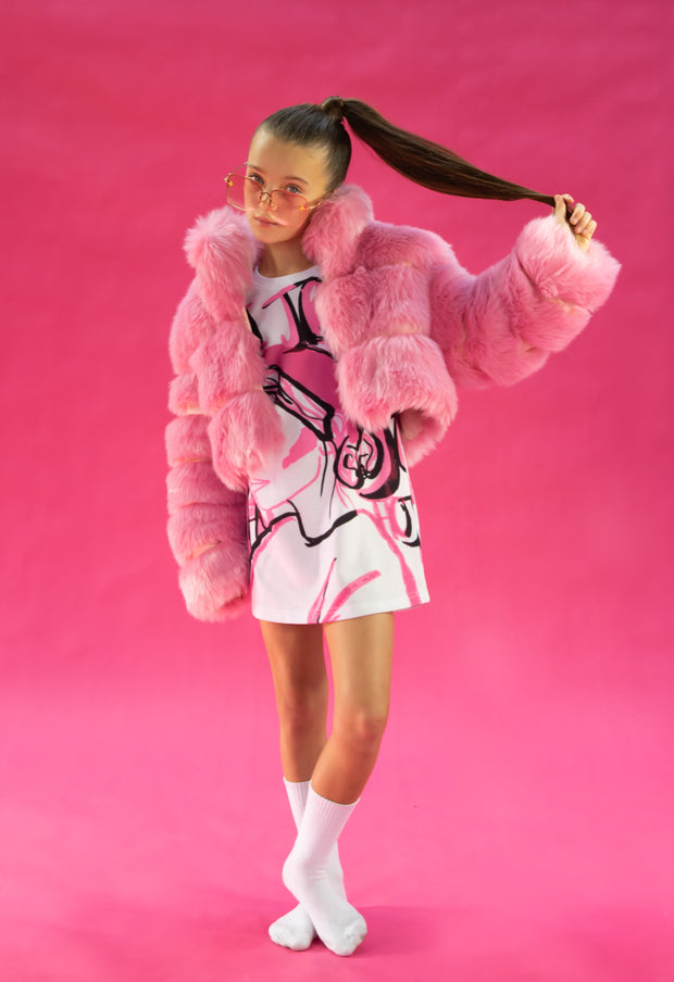 PINK FAUX FUR CROPPED JACKET WITH OVERSIZE COLLAR freeshipping - HOJ