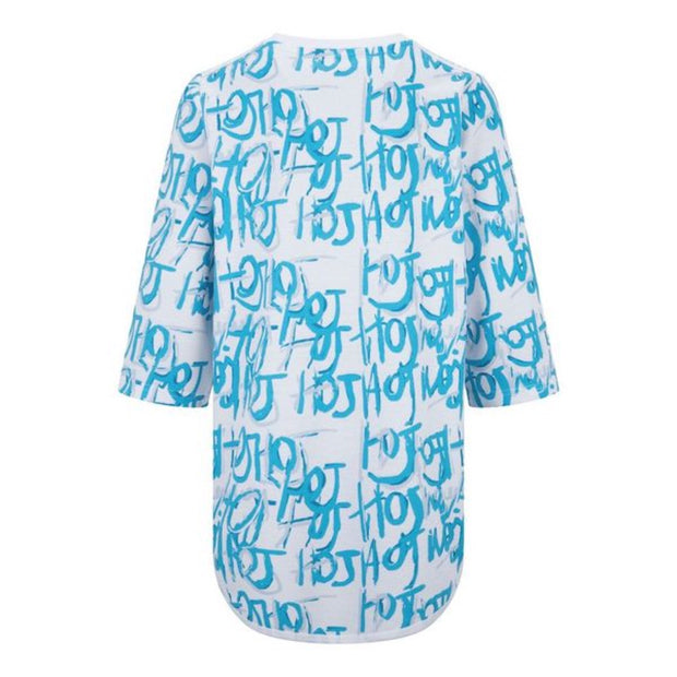 GIRLS HOJ STRAIGHT FIT TEE WITH BLUE DIGITAL ALL OVER  PRINT freeshipping - HOJ