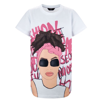 GIRLS TSHIRT  DRESS  PINK ILLUSTRATED GIRL WITH SHADES - houseofjrs