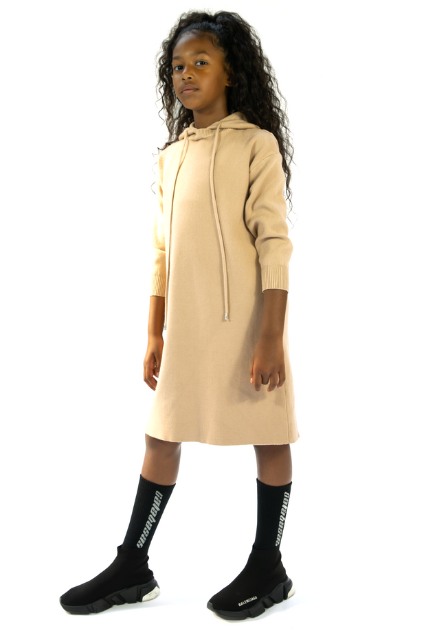 GIRLS  KNEE LENGTH HOODED JUMPER CASUAL COMFY WOOL HOODED JUMPER/DRESS freeshipping - HOJ