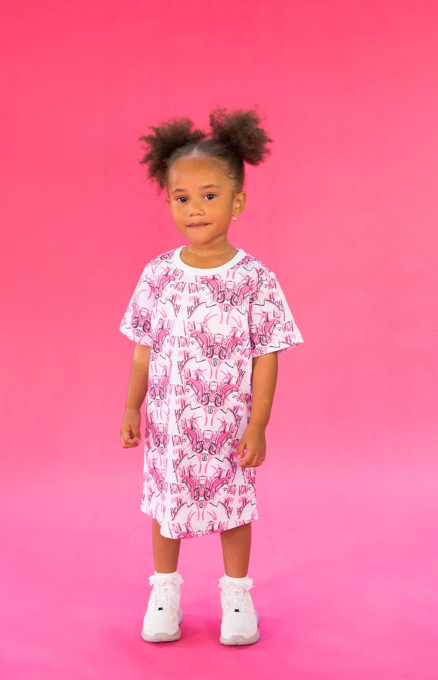 GIRLS PINK AND WHITE T-SHIRT DRESS WITH REPETITIVE PINK  FACE PRINT DESIGN - houseofjrs