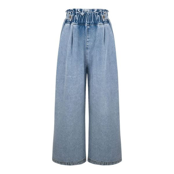 GIRLS HIGH WAISTED LOOSE FIT CULOTTE  JEANS WITH ELASTIC RIBBED WAIST - houseofjrs