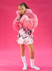 PINK FAUX FUR CROPPED JACKET WITH OVERSIZE COLLAR - houseofjrs