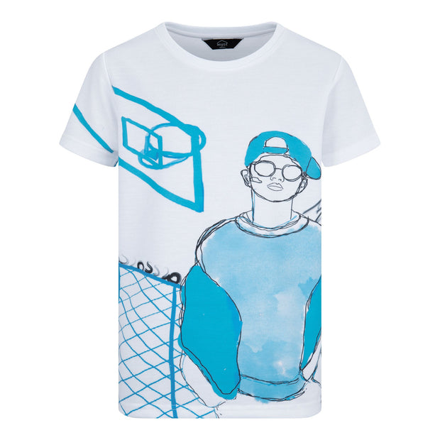 BOYS WHITE  SHORT SLEEVED T-SHIRT WITH BLUE BASKET BALL PRINT JUNIOR STYLE STRAIGHT FIT TEE - houseofjrs