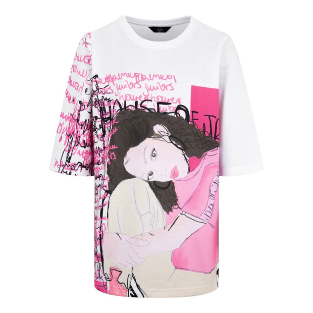 GIRLS PINK AND WHITE  HOJ ILLUSTRATED ART OVERSIZED TEE freeshipping - HOJ