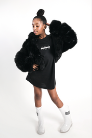 BLACK FAUX FUR CROPPED JACKET WITH HOOD - houseofjrs