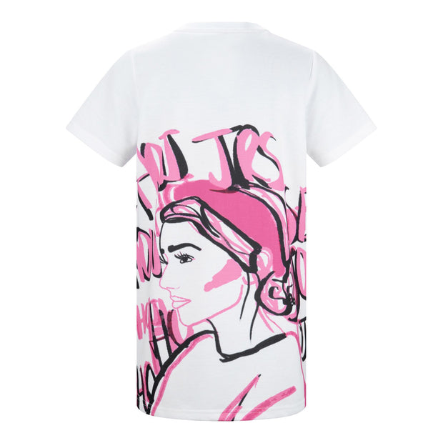 GIRLS PINK ILLUSTRATED FACE ART T-SHIRT DRESS freeshipping - HOJ