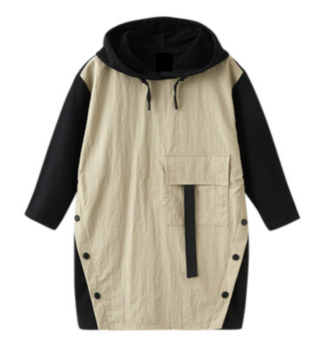 PATCHWORK DRESS CREAM AND BLACK WITH HOOD freeshipping - HOJ