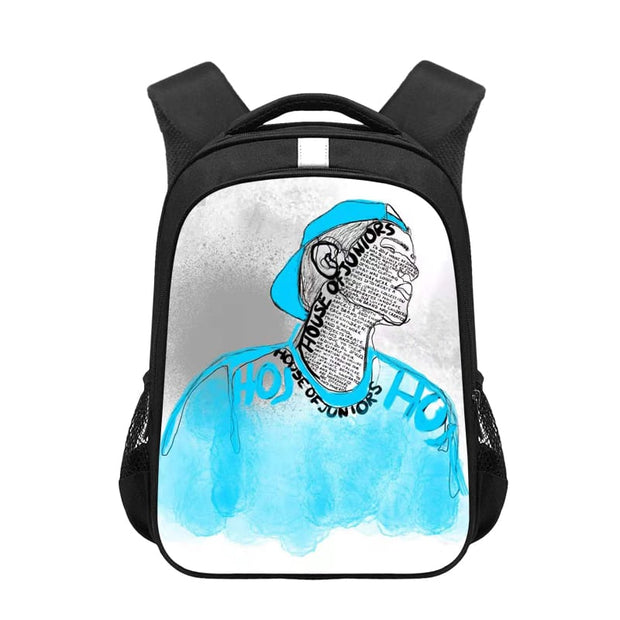 BOYS BLACK STREET FACE BACKPACK WITH ILLUSTRATED PRINT freeshipping - HOJ