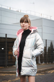 OVERSIZED IRIDESCENT PUFFER JACKET WITH PINK COLLAR AND LINING freeshipping - HOJ