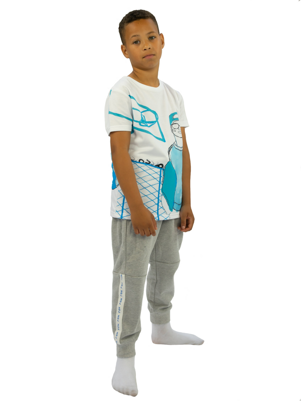 BOYS WHITE  SHORT SLEEVED T-SHIRT WITH BLUE BASKET BALL PRINT JUNIOR STYLE STRAIGHT FIT TEE freeshipping - HOJ