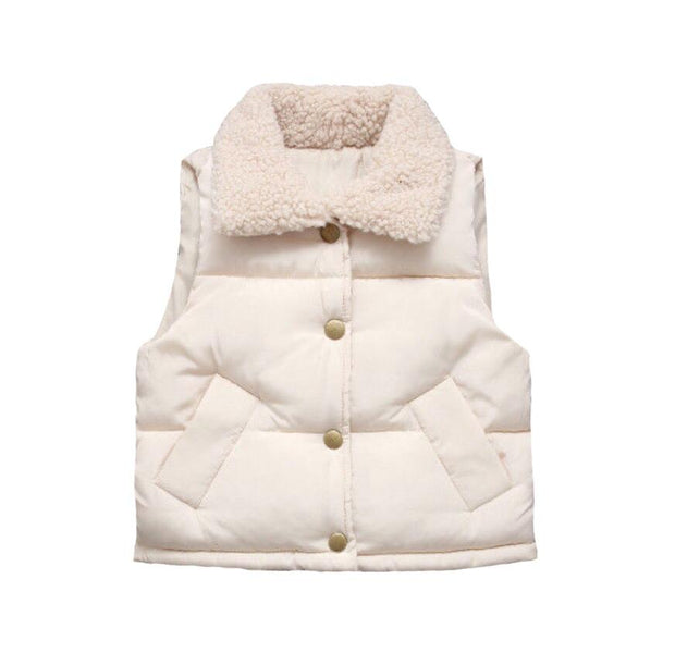 UNISEX CREAM PUFF BOMBER JACKET WITH FLEECE INLAY AND SNAP BUTTON PADDED WAISTCOAT - houseofjrs