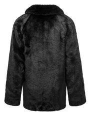 GIRLS FAUX FUR BLACK COAT - houseofjrs