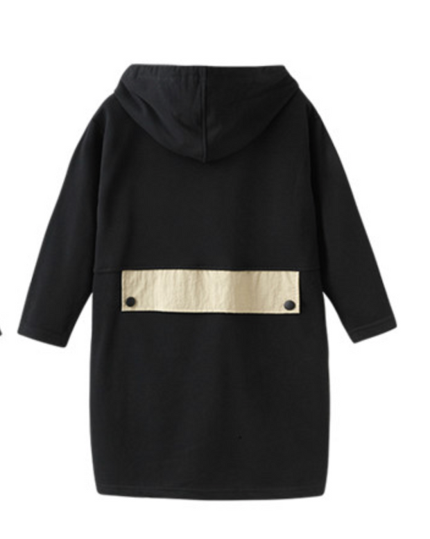 PATCHWORK DRESS CREAM AND BLACK WITH HOOD - houseofjrs
