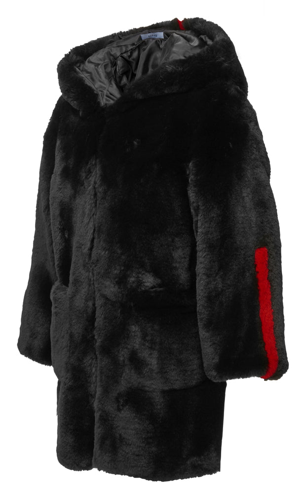 KIDS FAUX FUR BLACK COAT freeshipping - HOJ