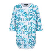 GIRLS HOJ STRAIGHT FIT TEE WITH BLUE DIGITAL ALL OVER  PRINT - houseofjrs