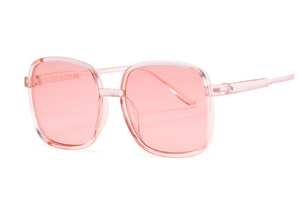 PINK PLASTIC SQUARE FRAMED SUNGLASSES GIRLS PINK TRANSPARENT SHADES UV - houseofjrs