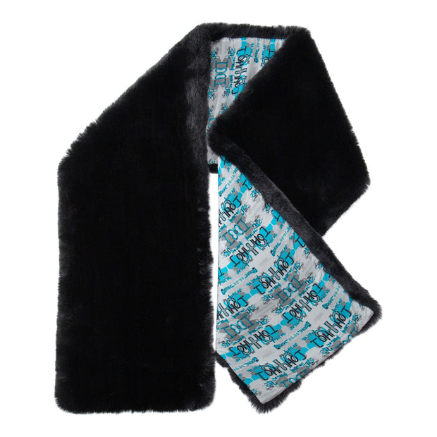 BLACK FAUX FUR SCARF WITH A BLUE AND BLACK MIRRORED PRINT  LINING - houseofjrs