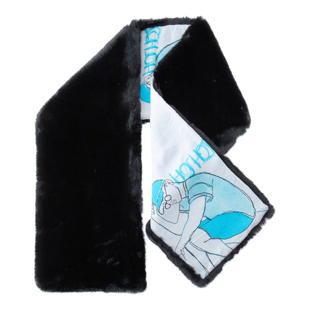 BOYS BLACK FAUX FUR SCARF WITH DETAILED ILLUSTRATED LINING - houseofjrs