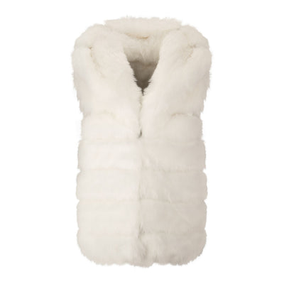 GIRLS WHITE DOUBLE SIDED FAUX FUR GILETS WITH OVERSIZED HOOD AND SIDE POCKETS - houseofjrs