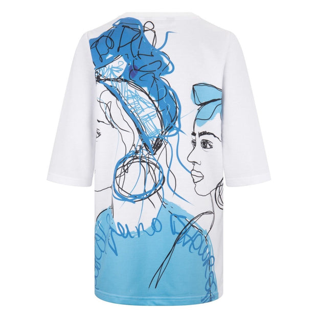 GIRLS WHITE  T-SHIRT DRESS WITH BLUE ILLUSTRATED FACE PRINT - houseofjrs