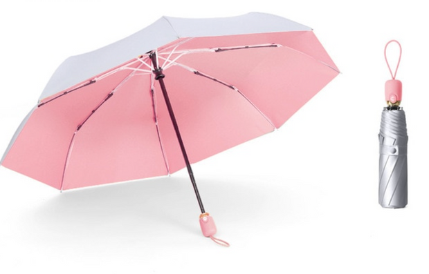 SILVER UMBRELLA WITH PINK INTERIOR freeshipping - HOJ