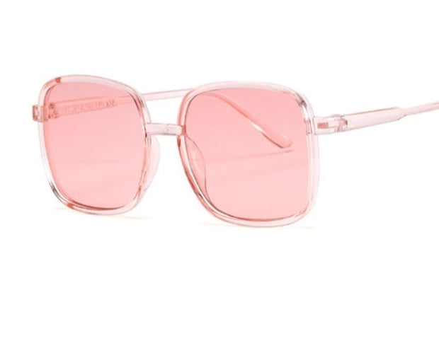 BRIGHT CANDY PINK  KOOL KIDS SQUARE SHADES WITH PINK TINTED LENSE - houseofjrs