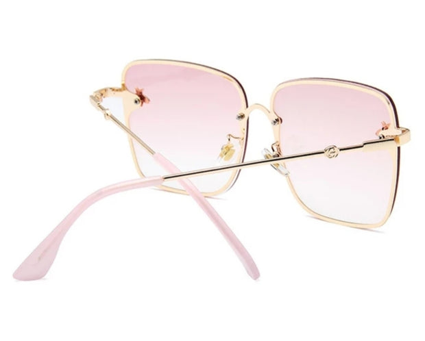 PINK SUNGLASSES WITH A GOLD FRAME AND PINK TINTED LENSES freeshipping - HOJ