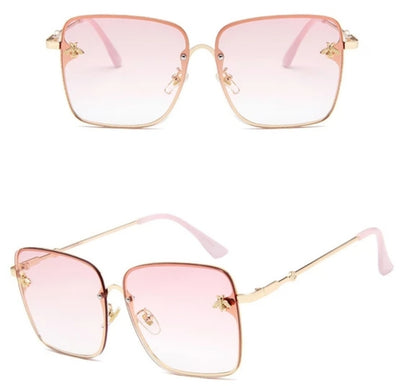 PINK SUNGLASSES WITH A GOLD FRAME AND PINK TINTED LENSES - houseofjrs