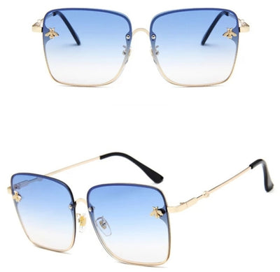 BLUE SQUARE FRAMED SUNGLASSES WITH GOLD TEMPLE AND BLUE TINTED LENSE - houseofjrs