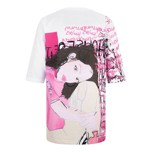 GIRLS PINK AND WHITE  HOJ ILLUSTRATED ART OVERSIZED TEE - houseofjrs