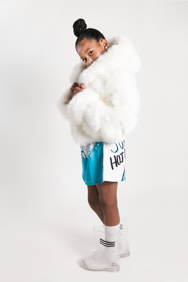 WHITE FAUX FUR CROPPED JACKET WITH HOOD freeshipping - HOJ