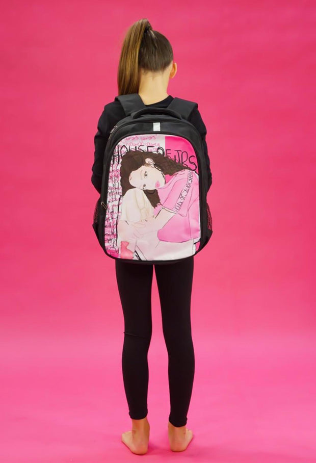 GIRLS BLACK ILLUSTRATED ART BACKPACK - houseofjrs
