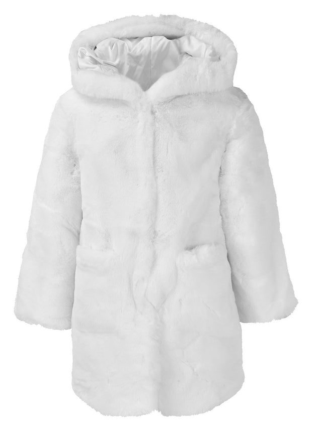 GIRLS FAUX FUR WHITE HOODED COAT WITH SLOGAN - houseofjrs
