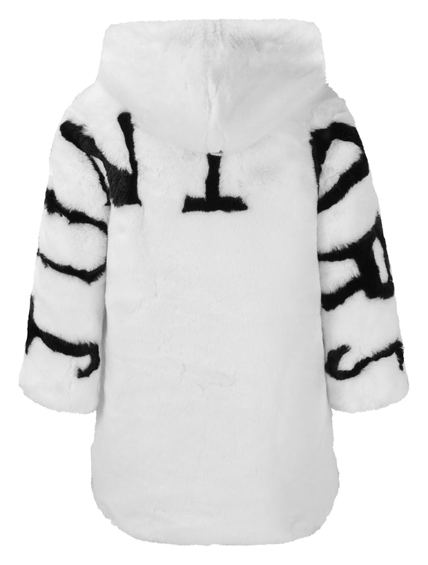 GIRLS FAUX FUR WHITE COAT WITH HOOD - houseofjrs