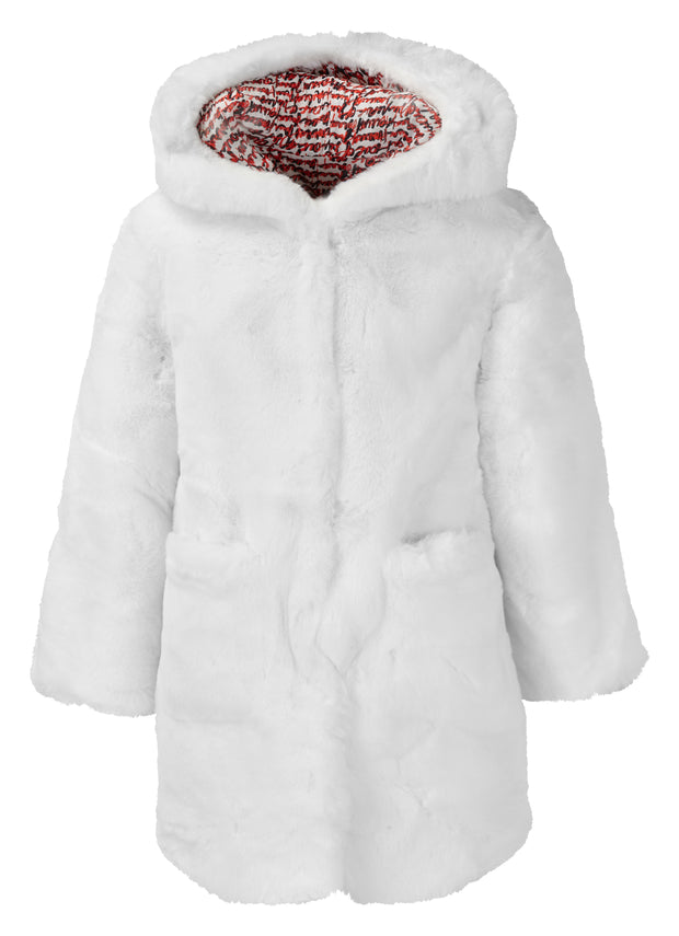 GIRLS FAUX FUR WHITE HOODED COAT WITH DETAILED LINING freeshipping - HOJ