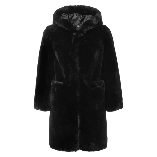 BOYS AND GIRLS FAUX FUR BLACK HOOD COAT - houseofjrs