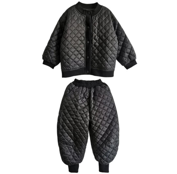 BLACK QUILTED 2 PIECE TRACKSUIT WITH BLACK COTTON DETAILING - houseofjrs