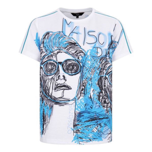 BOYS WHITE MASION DES JRS SHORT SLEEVED TOP WITH BLUE  ILLUSTRATED DESIGN - houseofjrs