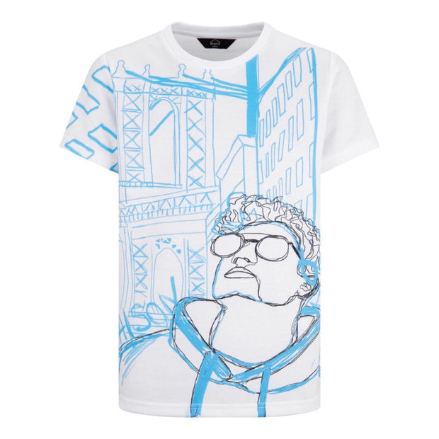 BOYS WHITE 'BIG CITY' ART SHORT SLEEVED TEE JUNIOR SOFT COTTON STRAIGHT FIT T-SHIRT - houseofjrs