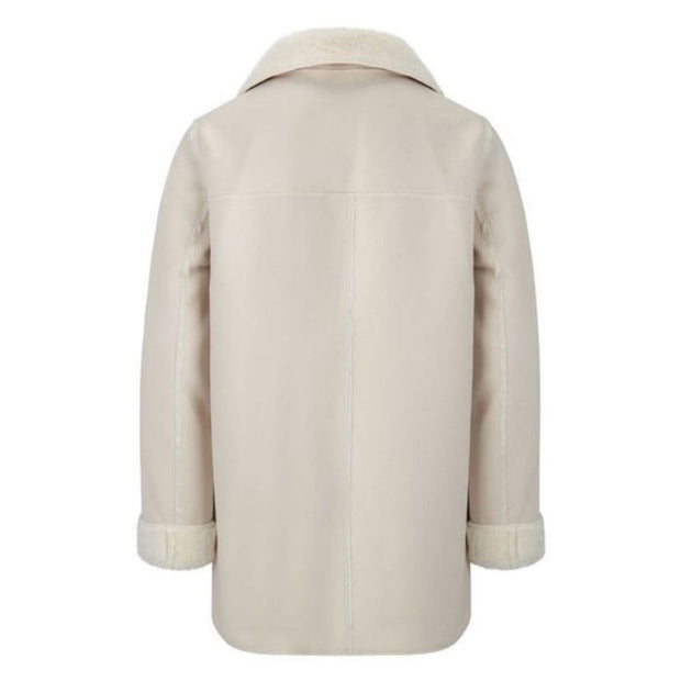UNISEX CREAM SUEDE COAT WITH FAUX FUR LINING AN COLLAR - houseofjrs