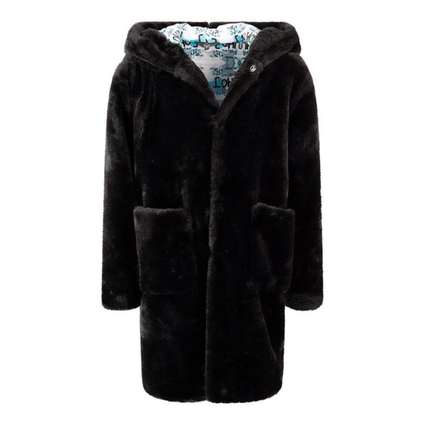 BOYS BLACK FAUX FUR COAT WITH ILLUSTRATED FACE PRINT BACK DETAIL AND DETAILED LINING - houseofjrs