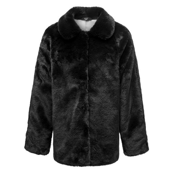 GIRLS FAUX FUR BLACK COAT freeshipping - HOJ