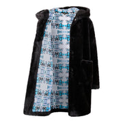 BOYS BLACK FAUX FUR COAT WITH ILLUSTRATED FACE PRINT BACK DETAIL AND DETAILED LINING freeshipping - HOJ