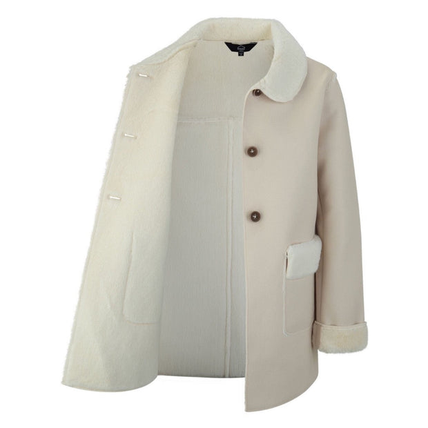 UNISEX CREAM SUEDE COAT WITH FAUX FUR LINING AND COLLAR freeshipping - HOJ